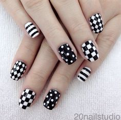 black and white polka dots stripes and gingham nails