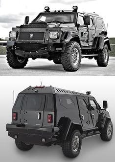 "A Canadian company called Conquest Vehicles, which manufactures ""ultra-luxurious, fully armored, handcrafted sport utility vehicles"" is producing the military-inspired Knight XV seen here.  The massive, nearly ten-ton vehicle was built from the ground up using high-grade steel, ""ballistic aluminum"" and other fun compounds; the doors are so heavy they require special hinges to support the extra weight."