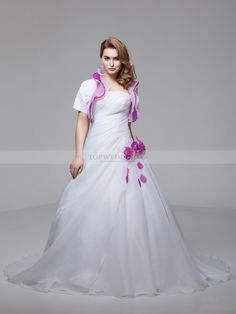 Two Tone Ruffled Organza Wedding Dress Adorned with Floral Detail and Bolero