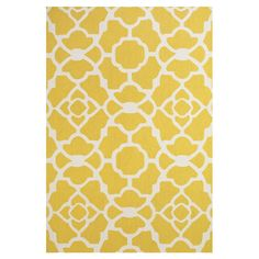 Hand Tufted Yellow / White Area Rug