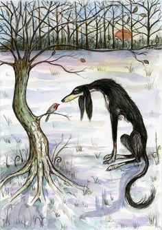 A Winters Secret - Saluki Art Hound Dog Print. £15.00, via Etsy. --- I am DYING. i LOVE these sighthound prints!