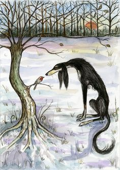 A Winters Secret - Saluki Art Hound Dog Print.