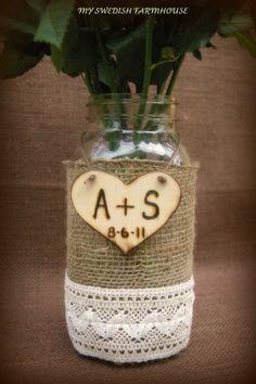 mason jar wedding vases   LARGE MASON JAR Flower Vase Burlap Lace 2 by MinSvenskaLandgard, $24 ...