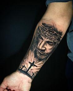 Jesus Forearm Tattoo, Jesus Tattoo Sleeve, Half Sleeve Tattoos Forearm, Forearm Sleeve Tattoos, Best Sleeve Tattoos, Jesus Tatoo, Dope Tattoos, Hand Tattoos, Forarm Tattoos