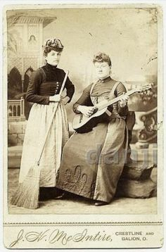 Girl with A Broom and Girl Playing A Guitar Galion Oh Musical Cabinet Photo | eBay