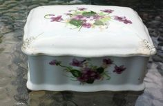 Occupied Japan SAJI Violets Trinket Box Fancy China #OccupiedJapan