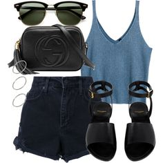 A fashion look from June 2017 featuring H&M tops, Nobody Denim shorts e Yves Saint Laurent sandals. Browse and shop related looks.