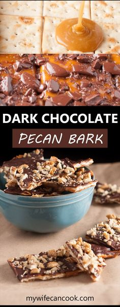 This Dark Chocolate Pecan Bark, sometimes called Christmas Crack, is the perfect quick and easy dessert and the perfect last minute Valentine's Day gift. You'll score big points butter, sugar, pecan and dark chocolate covered dessert with a surprise base of saltine crackers? They add the perfect crunch. It's a very popular holiday dessert and often is referred to as Christmas Crack because of it's highly addictive nature. You'll understand the name more once you try it -- you've been warned!