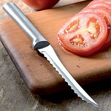 Tomato Knife: cuts the thinnest, most precise tomato slices ever. High-carbon, surgical-grade stainless steel blade is specially manufactured with dual serrations to make sure every cut is straight and even. Hand wash. $7.95