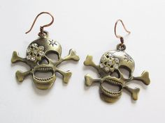 Rhinestone Skull Earrings with Jolly Roger Skull and by artsix