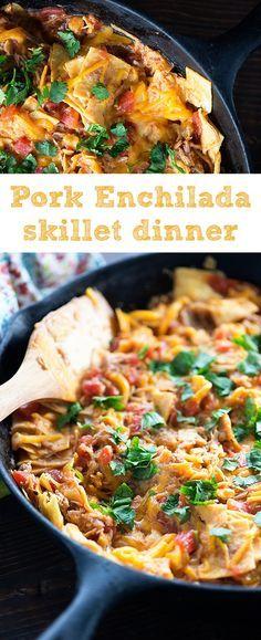 Pulled Pork Enchilada Skillet Pulled Pork Enchilada Skillet Leftover pulled pork is the perfect start to this 20 minute skillet dinner! Leftover Pork Loin Recipes, Shredded Pork Recipes, Pork Roast Recipes, Pulled Pork Recipes, Pork Tenderloin Recipes, Leftovers Recipes, Recipe For Leftover Pulled Pork, Pork Casserole Recipes, Recipes Dinner
