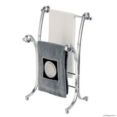 Details About Towel Rack Stand Chrome Bathroom Holder Fingertip Floor Free  Standing Organizer