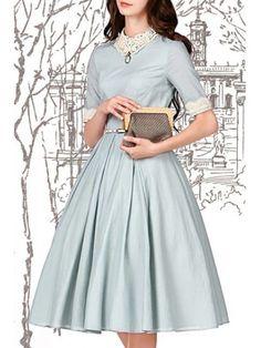 Lace Spliced Turn-Down Collar Flare Dress - LIGHT BLUE L