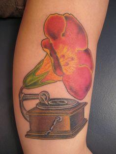 Unique Flower Record Player Tattoo | Venice Tattoo Art Designs