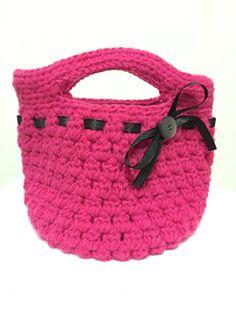 2f695d81a67 Crochet Hot Pink Handbag with Sparkle Croche Fio De Malha, Fios, Bolsas Da  Chloe