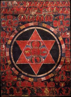 Vajravarahi Five Deity Mandala. Kagyu, Karma and Buddhist Lineages. Tibet. 1500.རྡོ་རྗེ་རྣལ་འབྱོར་མ། སྣང་བརྙན་ཡོངས།Vajravarahi is one of the central meditational deities of Tantric Buddhism. In the center of the composition are two crossed triangles, red in color,