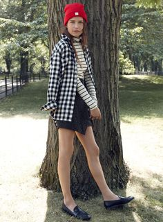 Ugh... love this entire fall look from Madewell. The stripes under buffalo checks is everything.