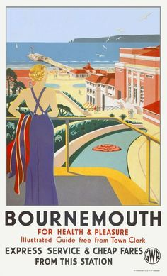 An poster sized print, approx (other products available) - Poster produced for Great Western Railway (GWR) to promote rail travel to Bournemouth in Dorset. Artwork by G D Tidmarsh. - Image supplied by National Railway Museum - Poster printed in Australia Posters Uk, Train Posters, Railway Posters, Art Deco Posters, Beach Posters, Retro Posters, British Travel, British Seaside, British Isles