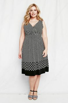 3ddbe1e2c8cce Women s Plus Size Sleeveless Pattern Cotton Modal Fit and Flare Dress from  Lands  End