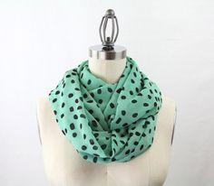 mint+infinity+scarf+loop+scarf+polka+dot+black+and+by+gertiebaxter,+$24.50