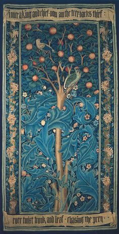 Woodpecker tapestry, 1885. Made by Morris & Co. Copyright William Morris Gallery, London.  Tthe Woodpecker tapestry is about Picus, who was transformed into a woodpecker by Circe because he didn't reciprocate her love.
