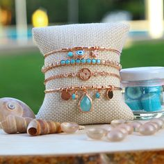 Dainty Bracelets, Stackable Bracelets, Gold Bracelet For Women, Bracelet Set, Rose Gold Plates, Delicate, Minimalist, Bronze, Throw Pillows