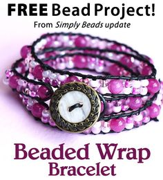 Pretty in Pink Beaded Wrap Bracelet Download from Simply Beads newsletter. Click on the photo to access the free pattern. Sign up for this free newsletter here: AnniesNewsletters.com