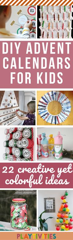 DIY advent calendars for kids that are colorful, fun, easy to make and mostly made with materials you already have at home (because, let's be honest, we all don't want to break the bank till the Holiday). Christmas Activities For Families, Christmas Games For Kids, Holiday Crafts For Kids, Craft Activities For Kids, Christmas Ideas, Advent Calendars For Kids, Kids Calendar, Homemade Ornaments