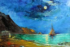 """Painting """"Miniature"""" by Alexander Jose - $450; canvas & oil; 20x30 cm; Jose Art Gallery    seascape, landscape, artwork, painting, sky, boat, ship, mountains, painting, drawing, illustration, moonlight, fine art"""