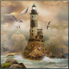 The Lighthouse by lastchance on Polyvore featuring polyvore art ocean lighthouse lastchance