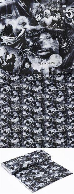 black with grey white monster Halloween fabric Timeless Treasures USA - Kawaii Fabric Shop Halloween Stoff, Halloween Fabric, Modes4u, Kawaii, White Image, Fabric Shop, Monster, Black Cotton, Grey