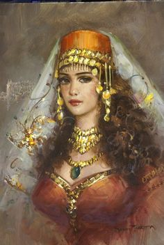 Fine Art by Top Emerging Artists and Masterpiece. Éphémères Vintage, Vintage Woman, Santa Sara, Turkish Art, Turkish Beauty, Beauty Art, Portrait Art, Beautiful Paintings, Female Art