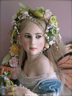 """*""""GATHERING FLOWERS FOR A GARLAND"""" ~ she is sculpted of Cernit, green hand blown eyes, hand tied human hair...by: Jamie Williamson One of a Kind Doll Artist"""