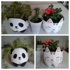 Maceta de panda y gatito/ de botella de plastico - #botella #de #gatito #maceta #panda #plastico