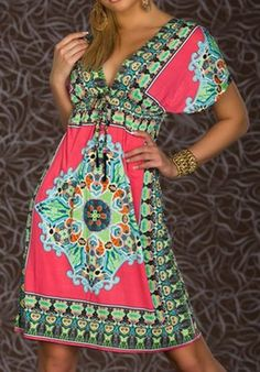 $9.00 Bohemian Plunging Neck Short Sleeve Printed Dress For Women - I know I am supposed to be good - but $9.00