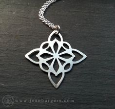 Geometric Pendant handcut sterling silver Handcrafted