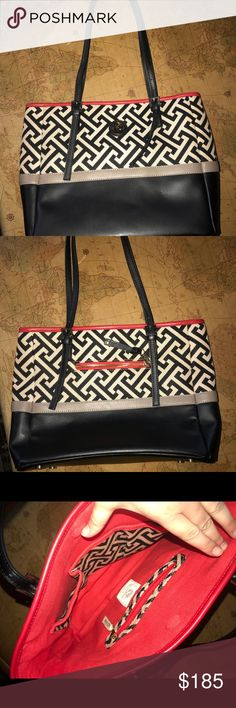 Colorful Spartina Large Handbag, brand new!! OBO Spartina 449 is a small company out of the southern coastal area, very cute, sometimes nautical designs. Black leather with black/cream woven design and red highlights. In PERFECT condition no scratches or wear!! Dimensions shows in photos. Tags removed after purchase, bag is just too large for my needs! Very pretty mermaid detail on all zipper pulls and emblem on front! Spartina 449 Accessories