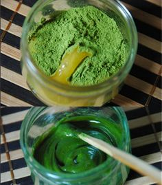 Matcha Tea Mask 1 tsp. Matcha Green Tea Few drops of Water or Aloe Vera Gel Put Matcha Green Tea into a small bowl and slowly add water or aloe vera gel.  You don't want to add too much liquid or it won't stay on your face.  Aim for a thicker consistency than thinner.  Apply to clean face and leave on 15 minutes or longer if desired.