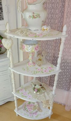 4 TIER CORNER FLOOR SHELF hp roses chic shabby vintage cottage hand painted art
