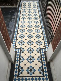 Victorian Tiles London specialist in installation and supply any reproduction Victorian mosaic floor tiles, Victorian geometric tiles in the London area Victorian Hallway Tiles, Victorian Mosaic Tile, Tiled Hallway, Victorian Bathroom, Hall Tiles, Victorian Flooring, Floor Design, Tile Design, Mosaic Tile Supplies