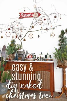 All you need is three items to make this beautiful naked Christmas tree! Grab a bucket, a branch, and some quick set concert and you're ready to make this stunner! #christmastree #christmasdiy