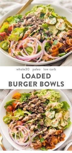 "healthy eating Loaded burger bowls with pickles, bacon, a quick guacamole, and a ""special sauce""! These low carb burger bowls are and paleo, too. Comidas Paleo, Dieta Paleo, Whole Food Recipes, Cooking Recipes, Paleo Recipes Low Carb, Easy Paleo Meals, Healthy Low Carb Meals, Healthy Filling Meals, Easy Recipes"