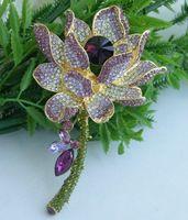 """Helenajewelry 4.13 """" золото-tone фиолетовый горный хрусталь кристалл водяная лилия брошь Pin EE04715C2"""