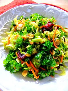 Detox salad- kale, brussel sprouts, carrots, celery, parsley, basil, dried cherries, parm and toasted almonds