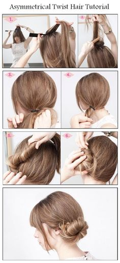 Make Asymmetrical Twist Hair | hairstyles tutorial