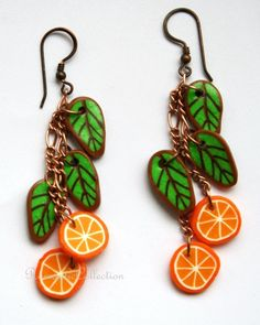 polymer clay earrings with oranges