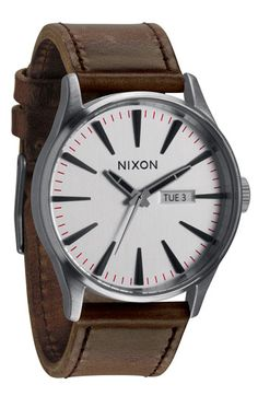 Nixon 'The Sentry' Leather Strap Watch available at #Nordstrom