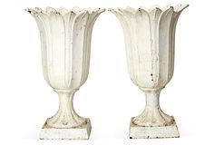 19th-C. White Iron Vases, Pair on OneKingsLane.com