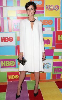 Jaimie Alexander looks oh-so sophisticated in a white Armani dress!