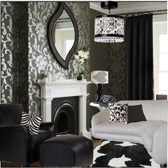 black and white livingroom, created by jitterbug07.polyvore.com